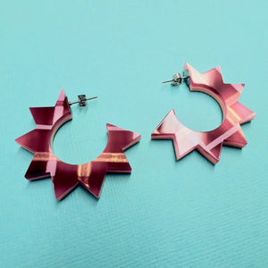 Spiky Hoop Earrings - Sherbet + Pink - edenki