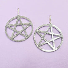 Load image into Gallery viewer, Pentagram Earrings - Silver Glitter - edenki