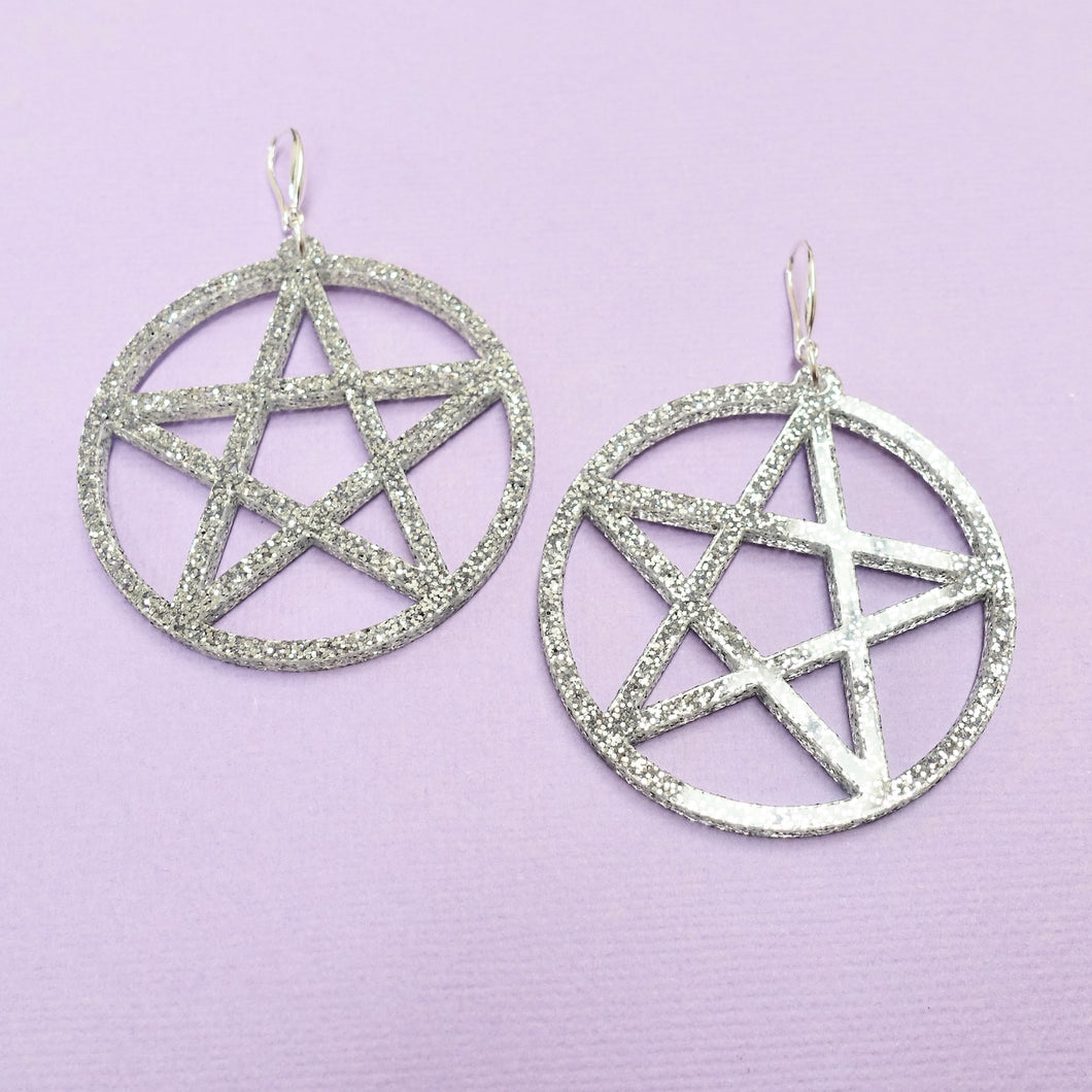 Pentagram Earrings - Silver Glitter - edenki