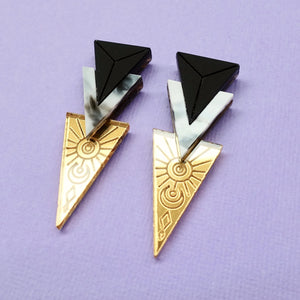 Trinity Earrings - Gold - edenki