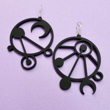 Load image into Gallery viewer, Mystic Lines Mismatched Earrings - Black - edenki