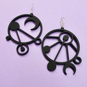 Mystic Lines Mismatched Earrings - Black - edenki