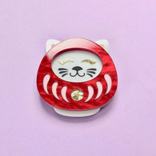 Load image into Gallery viewer, Neko Daruma Brooch - Red - edenki