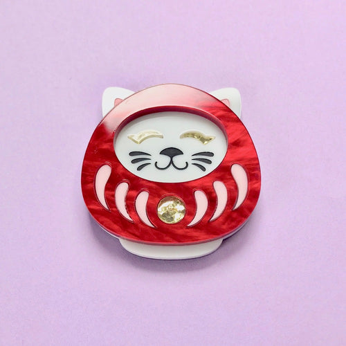 Neko Daruma Brooch - Red