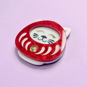 Neko Daruma Brooch - Red - edenki