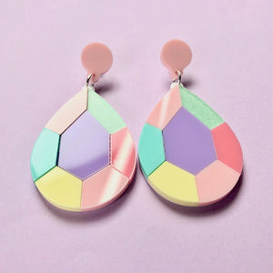 Pastel Teardrop Gem Statement Earrings - edenki