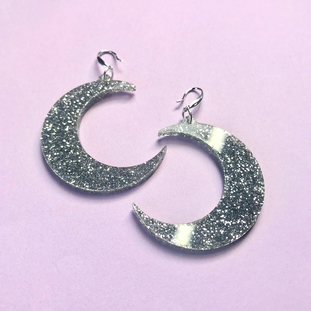 Crescent Moon Earrings - Silver - edenki