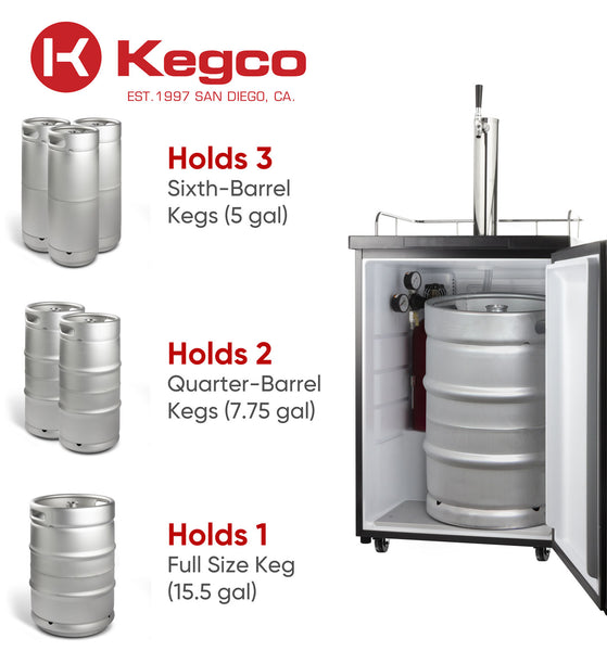 "Kegco 24"" Wide Kombucha Single Tap Stainless Steel Kegerator - KOM20S-1NK"