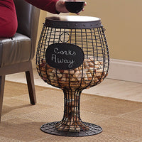 Wine Enthusiast Wine Glass Cork Catcher Accent Table