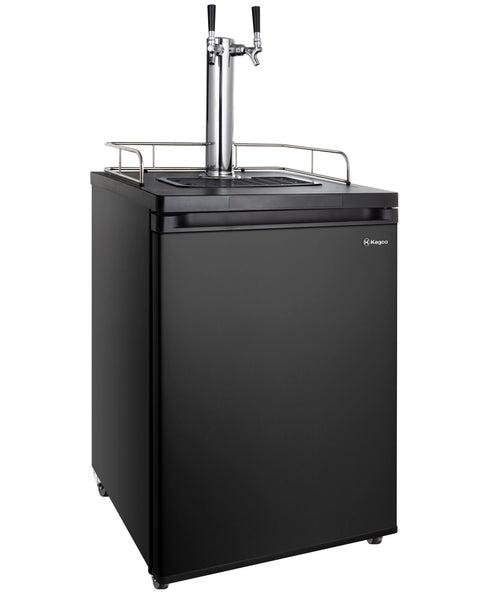 "Kegco24"" Wide Cold Brew Coffee Dual Tap Black Kegerator - ICK20B-2NK"