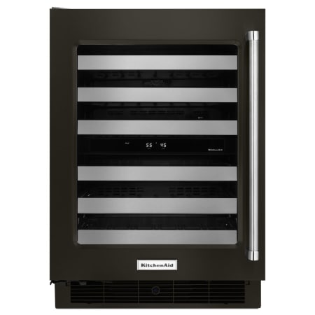 KitchenAid 24 Inch Wide 48 Bottle Capacity Wine Refrigerator with Metal Front Racks - Black Stainless - KUWL304EBS