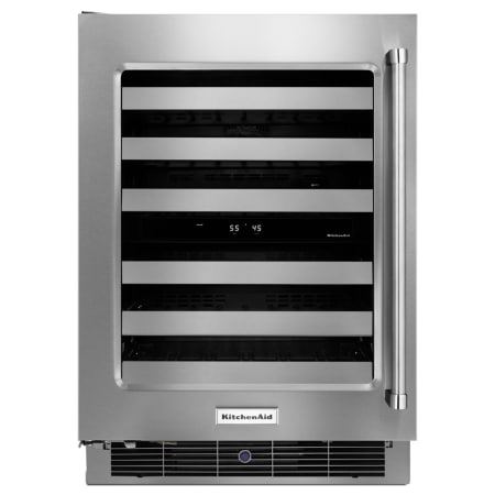 KitchenAid 24 Inch Wide 48 Bottle Capacity Wine Refrigerator with Metal Front Racks - KUWL304ESS