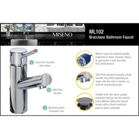 Miseno MNO102BN Mia-S Single Hole Bathroom Faucet with 50/50 Push-Pop Drain Assembly - Brushed Nickel