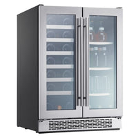 Zephyr Presrv™ 24 Inch Wide 21 Bottle Capacity Built-In or Free Standing Wine Cooler with Beverage Cooler - PRWB24C32AG