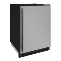 U-Line 24 Inch Wide 4.8 Cu. Ft. Capacity Energy Star Certified Solid Door Beverage Center with Freezer Conversion from the 1000 Series - Stainless Steel - U-1224FZRS-00A