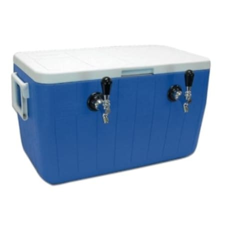 UBC Two Faucet 48 Qt Jockey Box 5/16 O.D. 70 Foot Coil - Blue