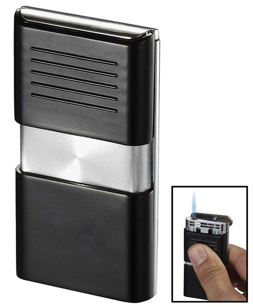 Visol Noipas Black and Chrome Wind-Resistant Torch Flame Lighter