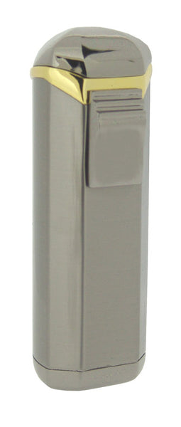 Visol Magic UNo Satin Gunmetal and Gold Single Jet Flame Cigar Lighter
