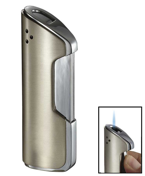 Visol Pulsante Satin Nickel Wind-Resistant Torch Flame Lighter