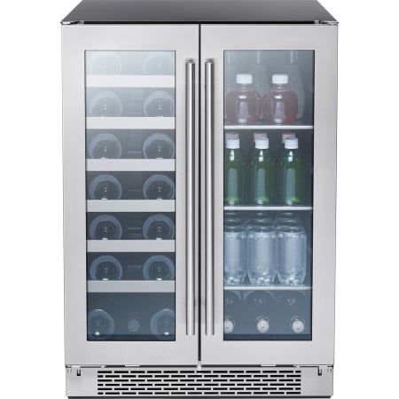 Zephyr Presrv™ 24 Inch Wide 21 Bottle Capacity and 64 Can Capacity Wine Cooler and Beverage Center Combo with Active Cooling and PreciseTemp - PRWB24C32BG