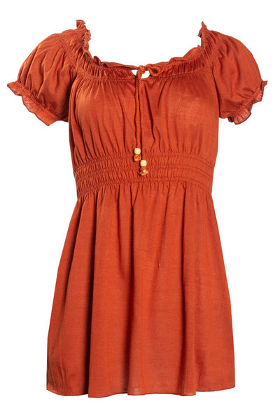 Smocked Waist Peasant Tee - Orange Womens Tees & Tank Tops FAIRWEATHER S