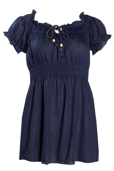 Smocked Waist Peasant Tee - Navy Womens Tees & Tank Tops FAIRWEATHER S