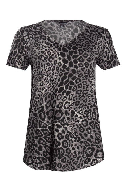 Leopard V-Neck Tee - Grey Pattern Womens Tees & Tank Tops FAIRWEATHER S