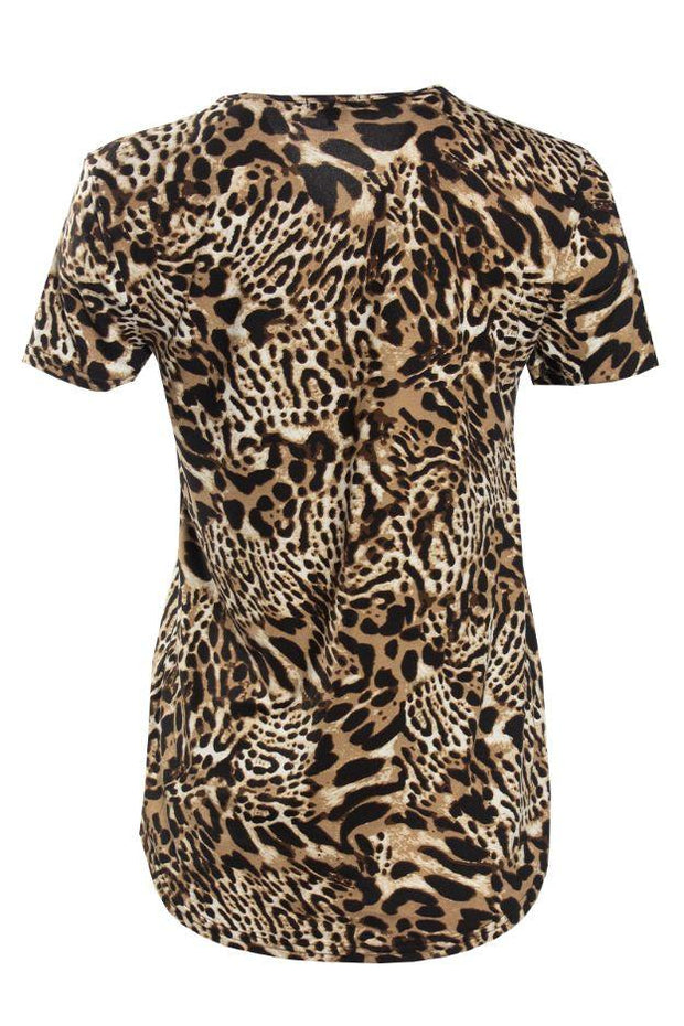 Leopard Lace-Up Cap Sleeve Tee - Camel Pattern Womens Tees & Tank Tops FAIRWEATHER