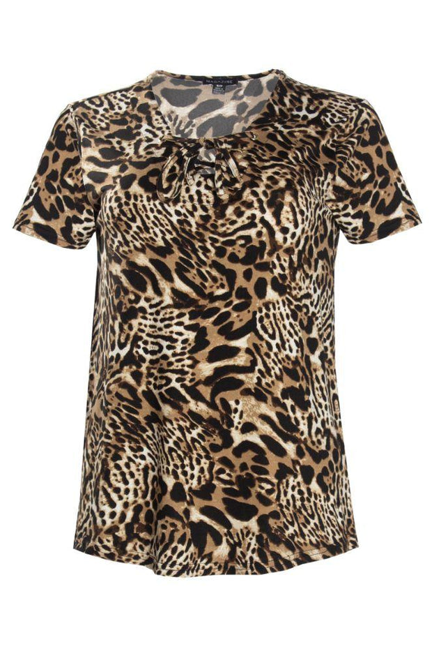 Leopard Lace-Up Cap Sleeve Tee - Camel Pattern Womens Tees & Tank Tops FAIRWEATHER S