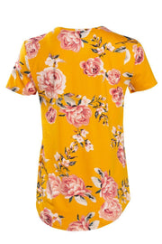 Floral Lace-Up Cap Sleeve Tee - Yellow Womens Tees & Tank Tops FAIRWEATHER