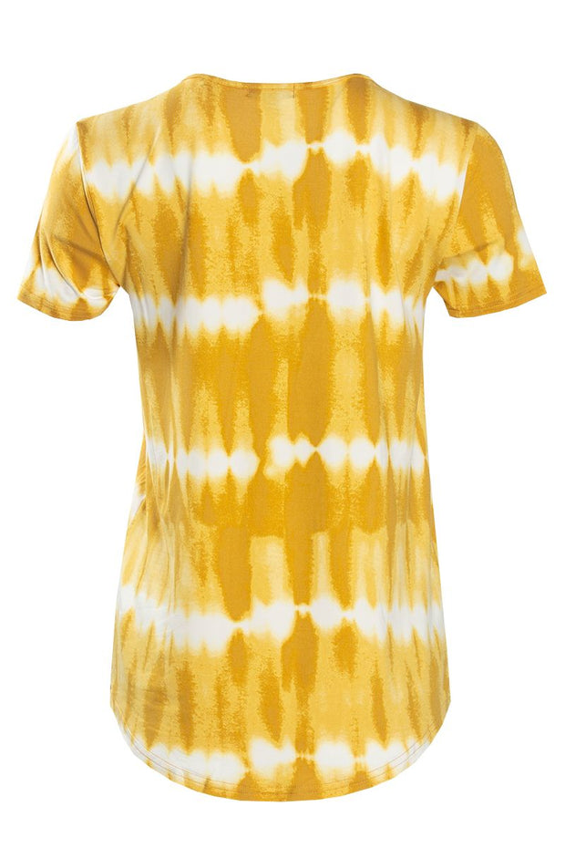 Tie-Dye Lace-Up Cap Sleeve Tee - Yellow Womens Tees & Tank Tops FAIRWEATHER