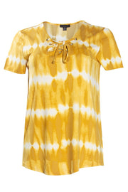Tie-Dye Lace-Up Cap Sleeve Tee - Yellow Womens Tees & Tank Tops FAIRWEATHER S