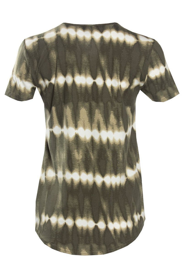 Tie-Dye Lace-Up Cap Sleeve Tee - Olive Womens Tees & Tank Tops FAIRWEATHER