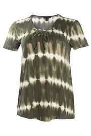 Tie-Dye Lace-Up Cap Sleeve Tee - Olive Womens Tees & Tank Tops FAIRWEATHER S
