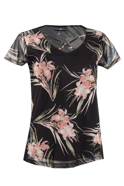Floral Cross Front Tee - Black Womens Tees & Tank Tops FAIRWEATHER S