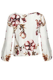 Floral Tie-Front Blouse - White Womens Shirts & Blouses FAIRWEATHER