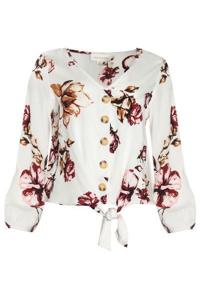 Floral Tie-Front Blouse - White Womens Shirts & Blouses FAIRWEATHER S