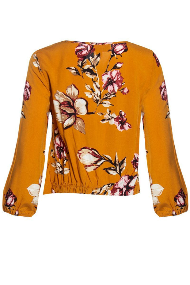 Floral Tie-Front Blouse - Yellow Womens Shirts & Blouses FAIRWEATHER