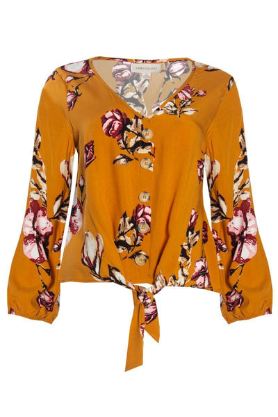Floral Tie-Front Blouse - Yellow Womens Shirts & Blouses FAIRWEATHER S