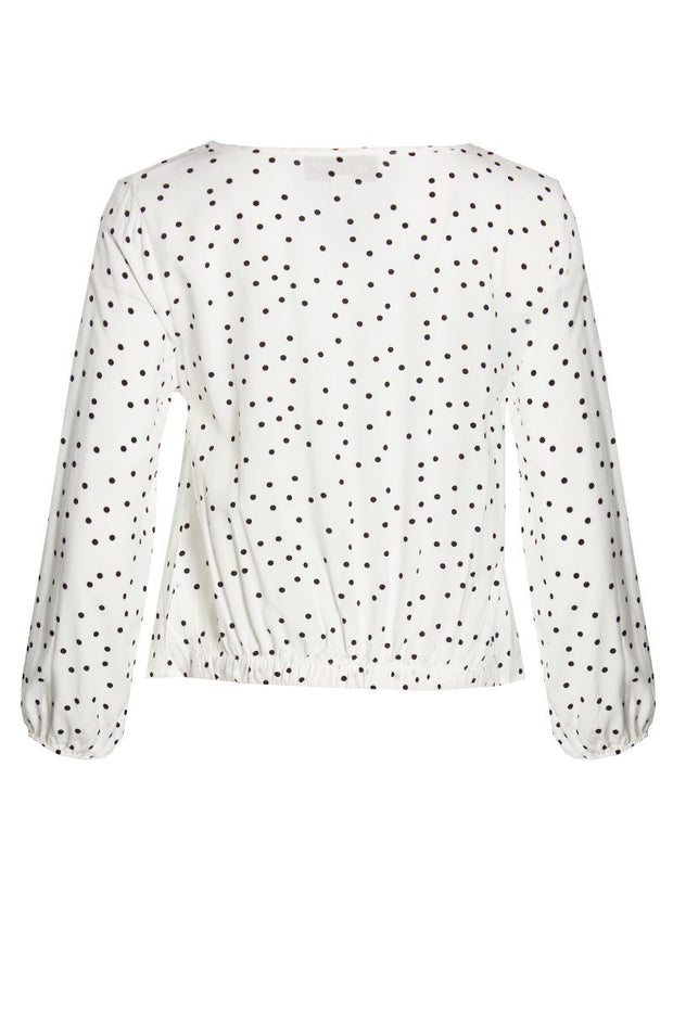 Polka Dot Tie-Front Blouse - White Womens Shirts & Blouses FAIRWEATHER