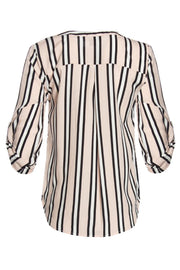 Striped Zip Front Blouse - Pink Womens Shirts & Blouses FAIRWEATHER
