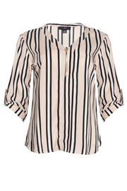 Striped Zip Front Blouse - Pink Womens Shirts & Blouses FAIRWEATHER S