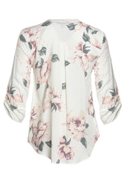 Floral Zip Front Blouse - White Womens Shirts & Blouses FAIRWEATHER