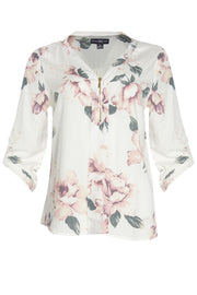 Floral Zip Front Blouse - White Womens Shirts & Blouses FAIRWEATHER S