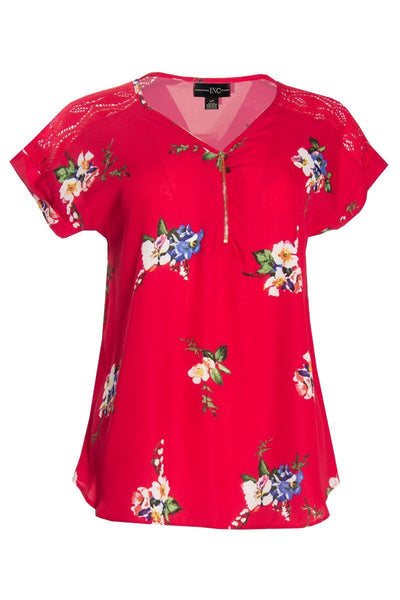 Floral Cap Sleeve Blouse - Magenta Womens Shirts & Blouses FAIRWEATHER S