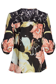 Floral 3/4 Sleeve Blouse - Black Womens Shirts & Blouses FAIRWEATHER