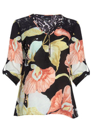 Floral 3/4 Sleeve Blouse - Black Womens Shirts & Blouses FAIRWEATHER S