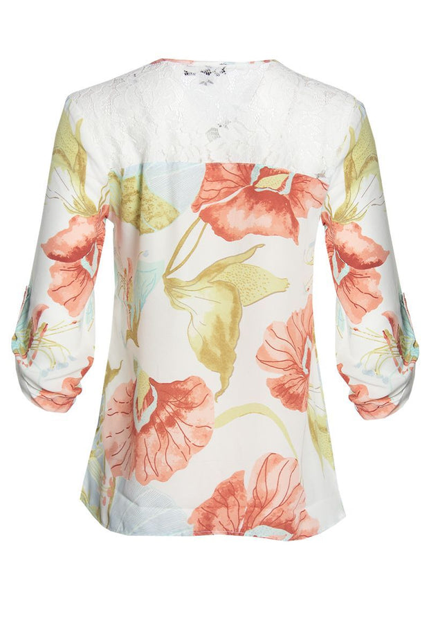 Floral 3/4 Sleeve Blouse - White Womens Shirts & Blouses FAIRWEATHER