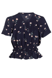 Floral Smocked Waist Blouse - Navy Womens Shirts & Blouses FAIRWEATHER
