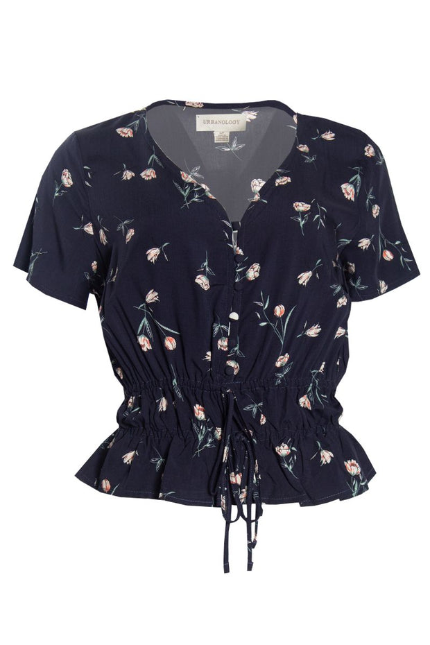 Floral Smocked Waist Blouse - Navy Womens Shirts & Blouses FAIRWEATHER S